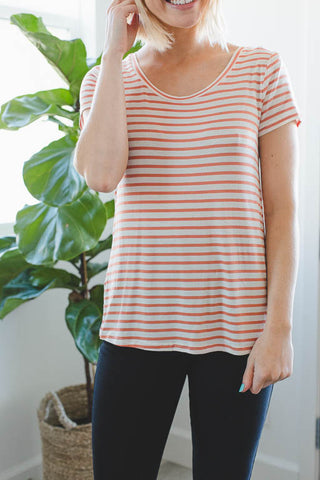 Classy Striped Tee in Apricot