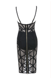 Sienna Black Sheer Mesh Bandage Dress