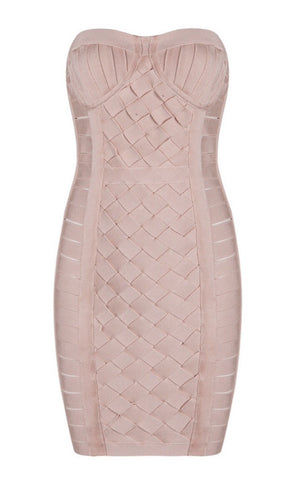 Nancie Light Pink Weave Mini Bandage Dress