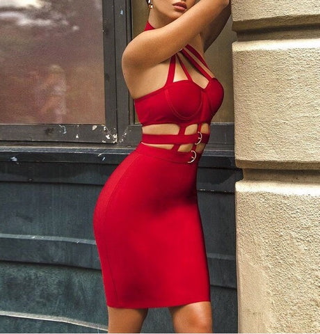 Aleta Red Halter Neck Bandage Dress