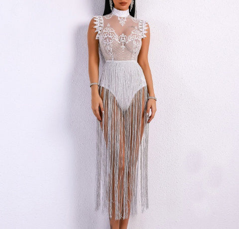 Ceylan White High Neck Sleeveless Tassel Dress