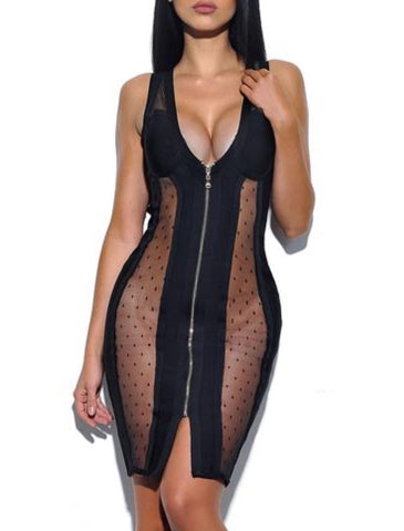 Calista Sheer Cutout Front Zip Bandage Dress