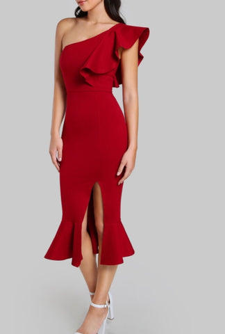 Angela Red One Shoulder Ruffle Bandage Dress