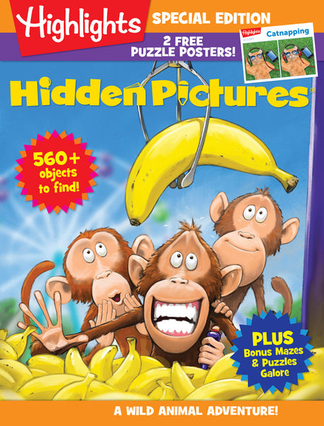 Highlights Hidden Pictures Wild Animal Adventure magazine cover with illustration of monkeys and bananas