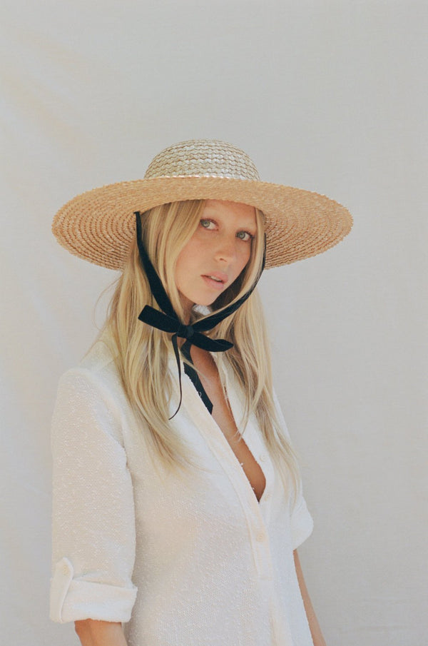 Dolce Sun Hat With Black/White Velvet Ribbon