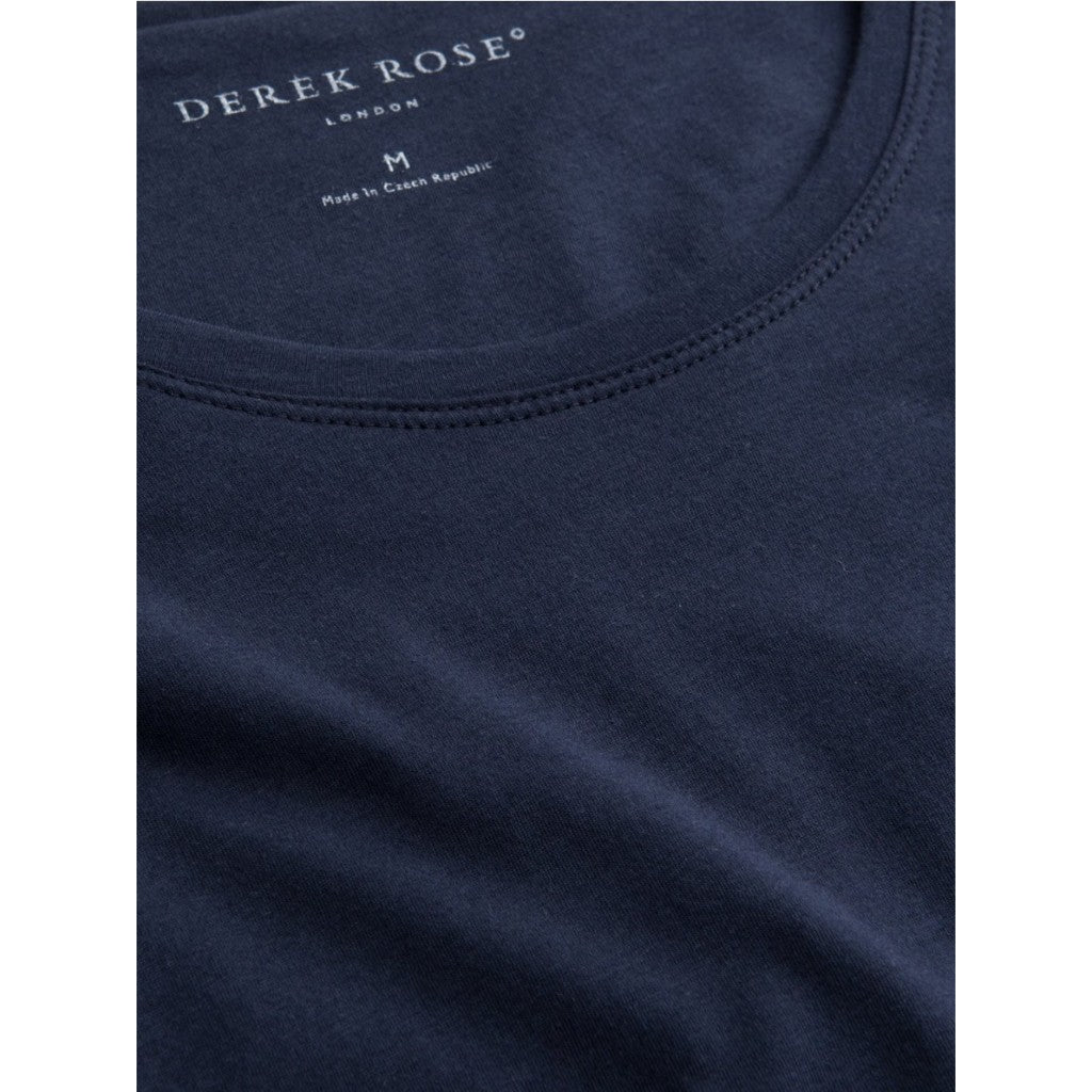 Derek Rose Men's Short Sleeve Riley Pima Cotton Tee T-Shirt (Navy)