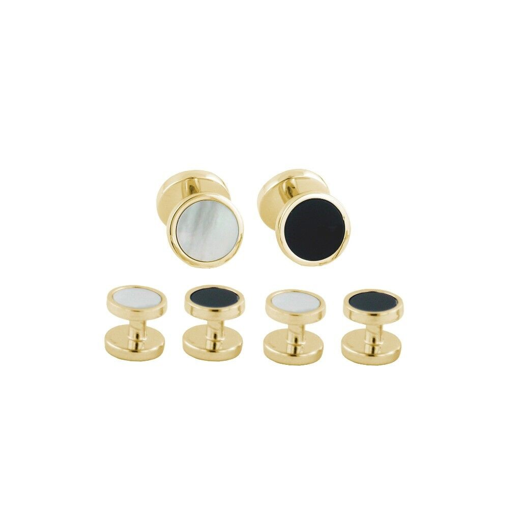 David Donahue Gold Plated Sterling Silver Onyx & Mother of Pearl Reversible Stud Set (SS892313)