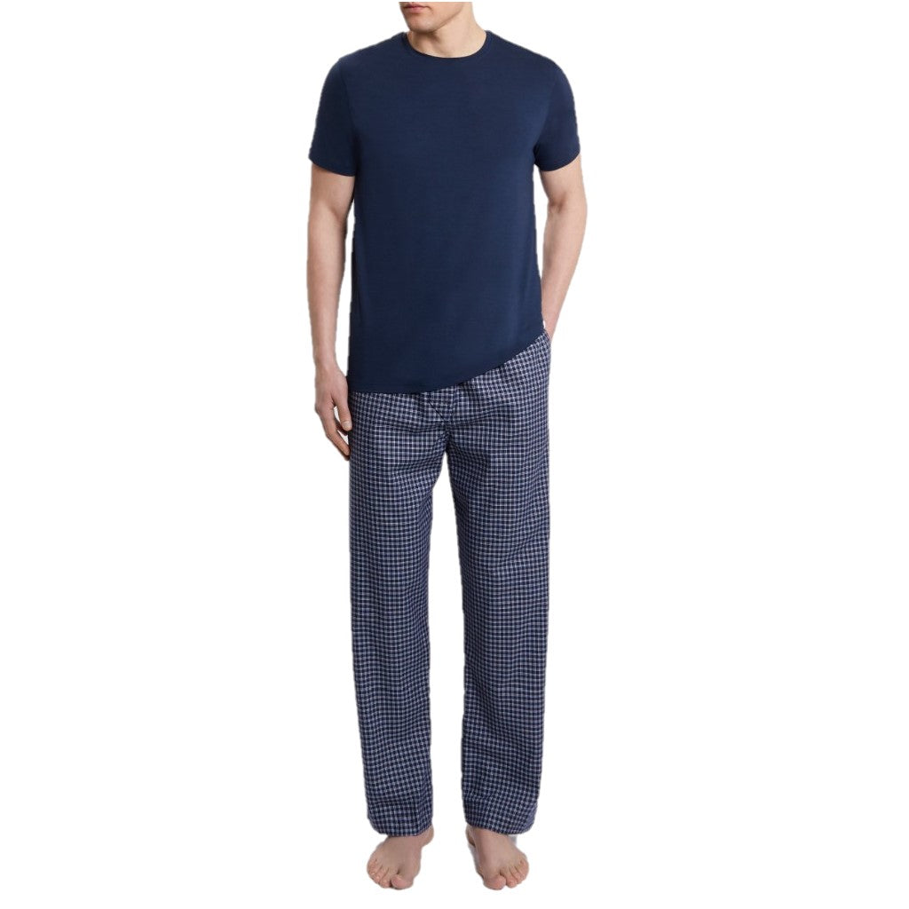 Derek Rose Men's Lounge Trousers Braemar Plaid Brushed Cotton Navy Pajama Pants