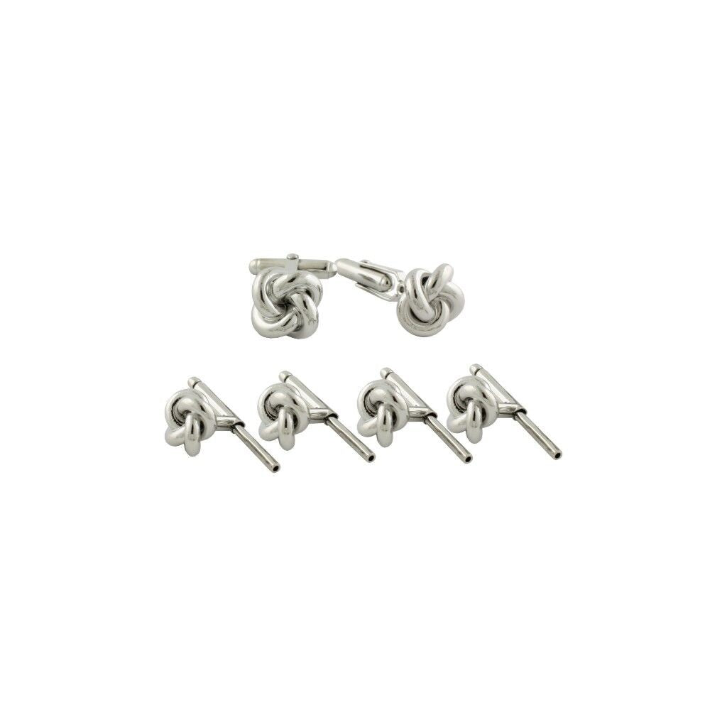 David Donahue Men's Sterling Silver Small Knot Cufflinks Stud Set (SS861402)