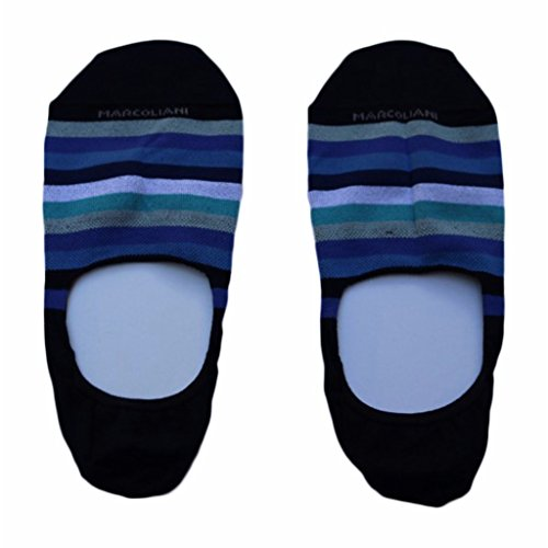 Marcoliani Men's Rainbow Stripe Invisible Touch No Show Liner Socks