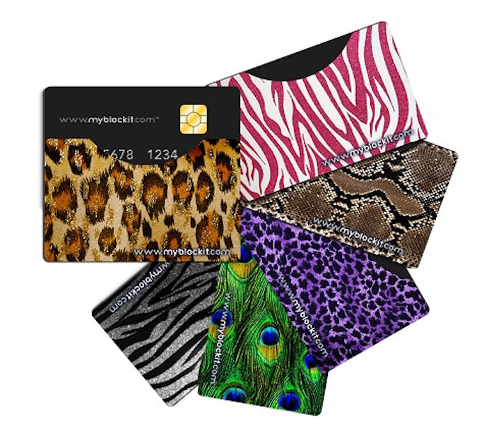 BLOCKIT RFID Protector Sleeves - 6 Pack (Jungle Bling) Top Load or Side Load Credit Debit Card Protectors, Slim Cards Holders fit all Mens & Womens Wallets