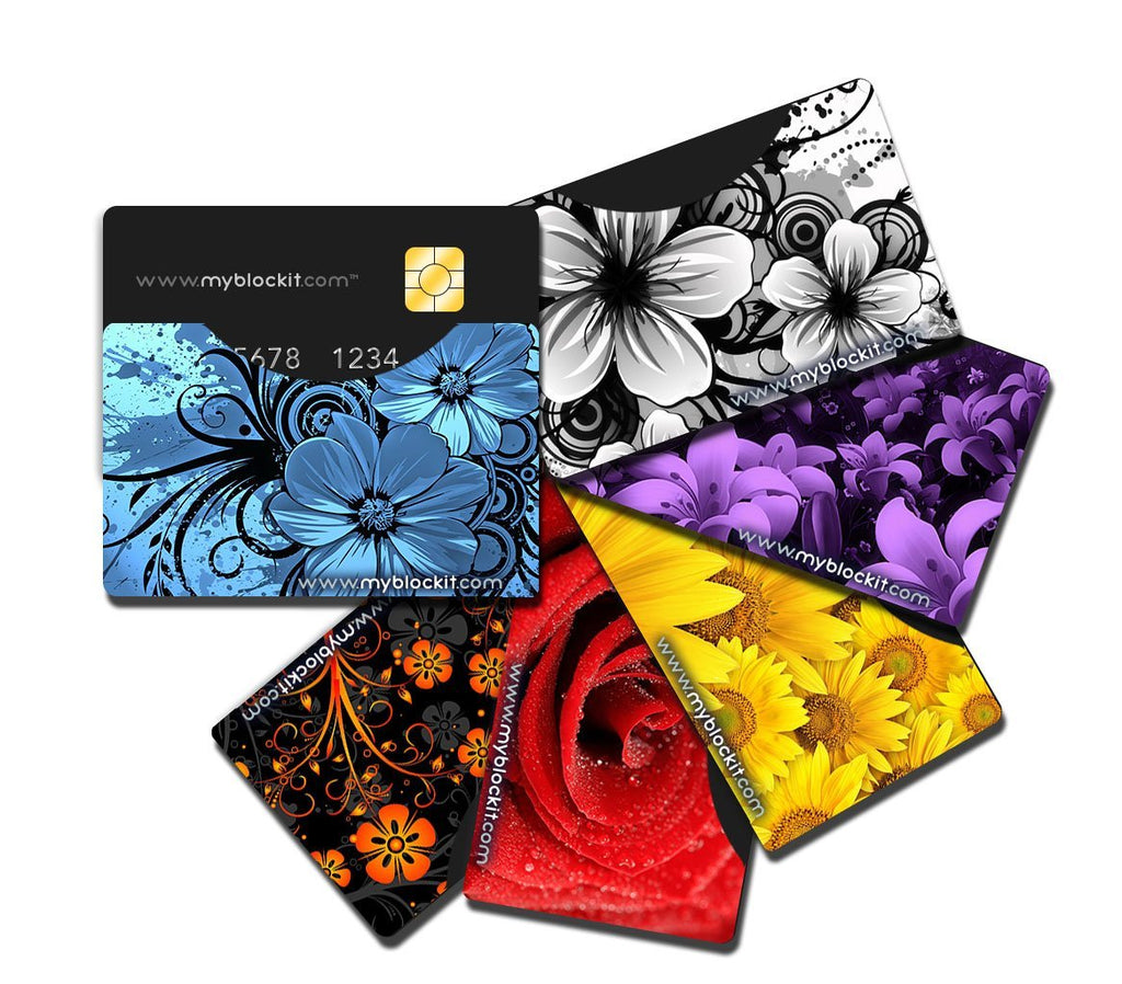 BLOCKIT RFID Protector Sleeves - 6 Pack (Floral) Top Load or Side Load Credit Debit Card Protectors, Slim Cards Holders fit all Mens & Womens Wallets