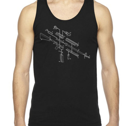 Exploded AR-15 Automatic Rifle Unisex Tank Top