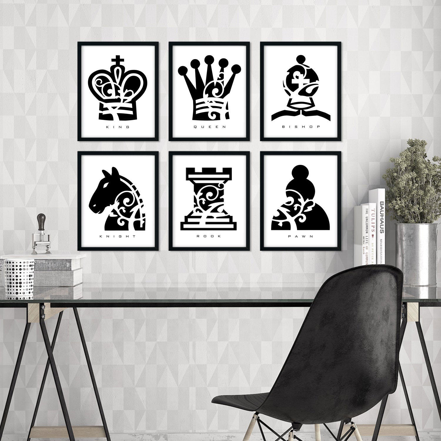 Chess Piece Collection - Set of 6 - Wall Decor