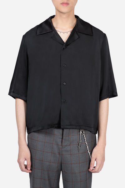 Pressured Paradise - Vacay Cropped Silk Shirt Dry Onyx