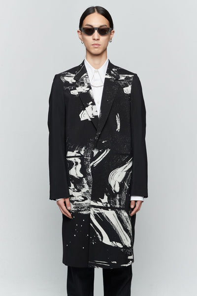 Undercover - Black Printed Single Breasted Coat Black