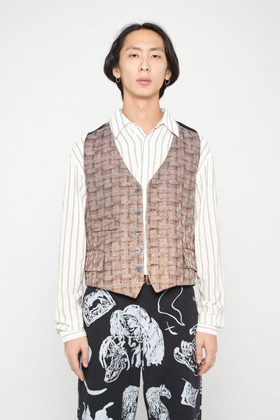 Our Legacy - Borrowed Dinner Vest Accordion Gold Check