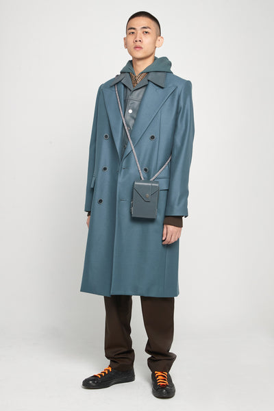 Zen Tailored Double Breast Coat Glacier Blue
