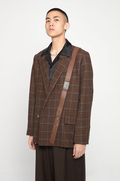 Closed Window - Kin Guitar Strap Peak Lapel Suit Desert Sky Houndstooth