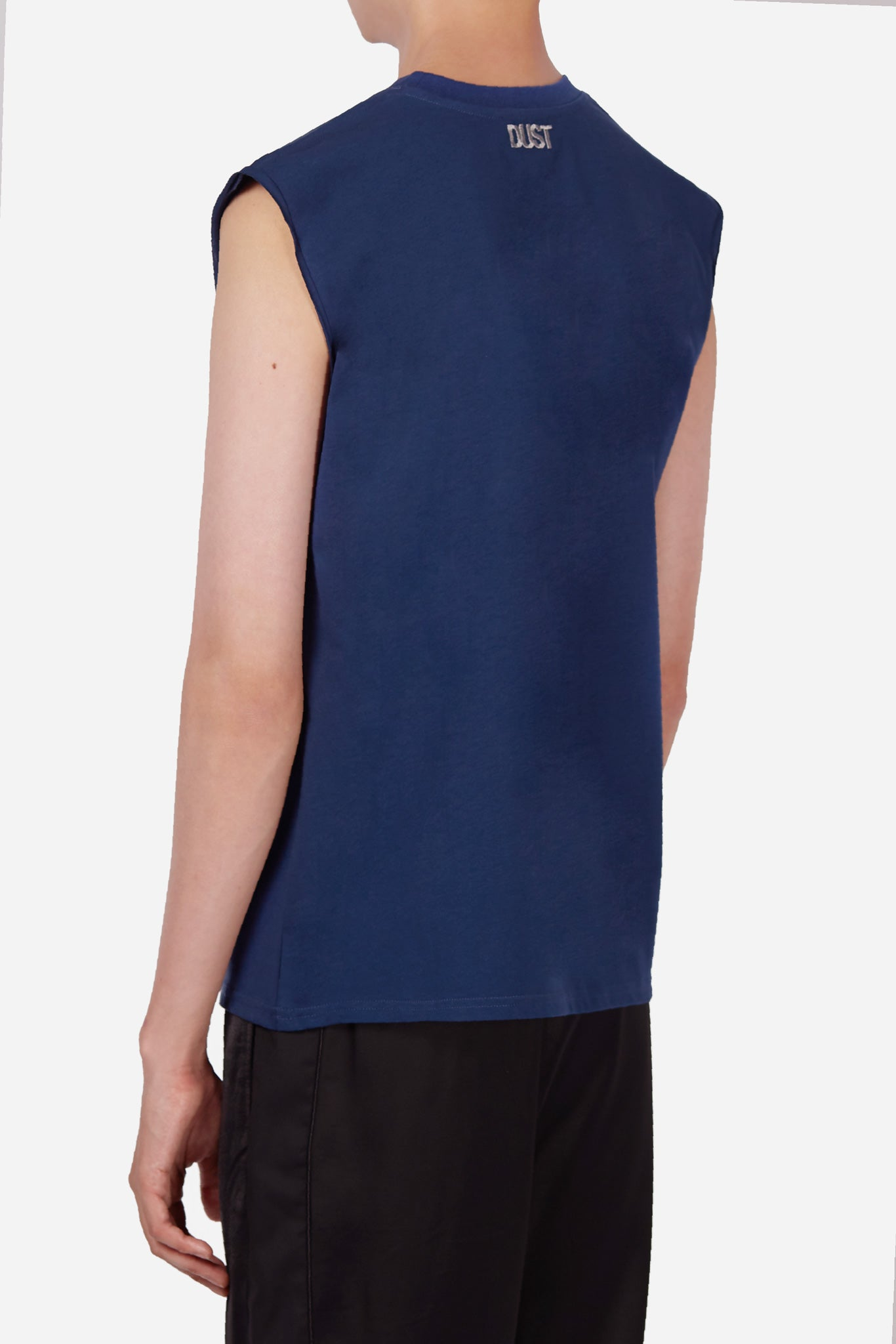 Style 1A Navy Sleeveless T-Shirt with Plastic Pocket