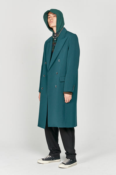 Zen Tailored Double Breast Coat Eclipse Green Gabardine