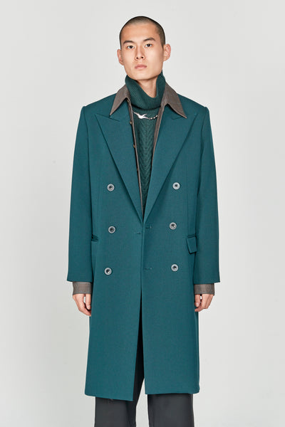 Closed Window - Zen Tailored Double Breast Coat Eclipse Green Gabardine