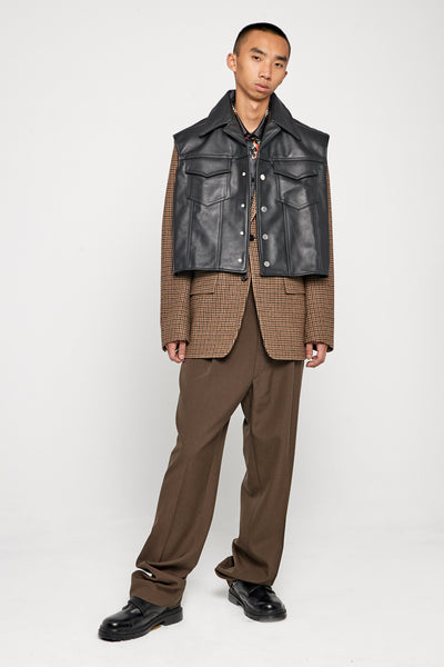 Tom Pullover Leather Vest Dry Onyx