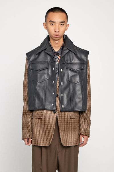 Closed Window - Tom Pullover Leather Vest Dry Onyx