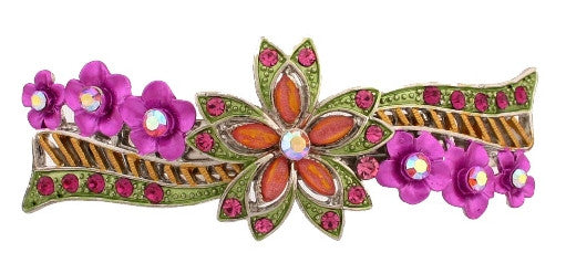 Double Star & Floral French Barrette w/ Swarovski Crystals 1580