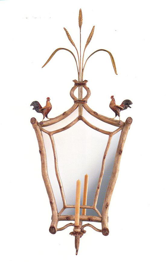 """Roosters with Wheat"" Sconce Mirror"