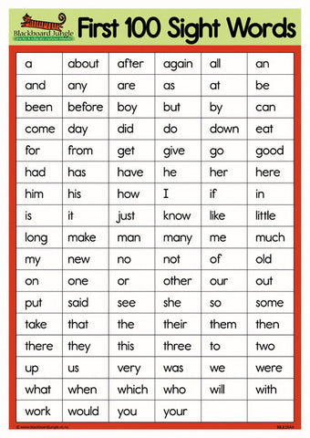 First 100 Sight Words - A4