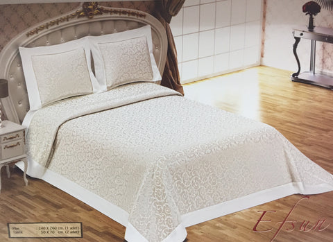 """Efsun"" Bed Cover cream"