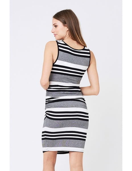 Stripe Nursing Dress - Black and White