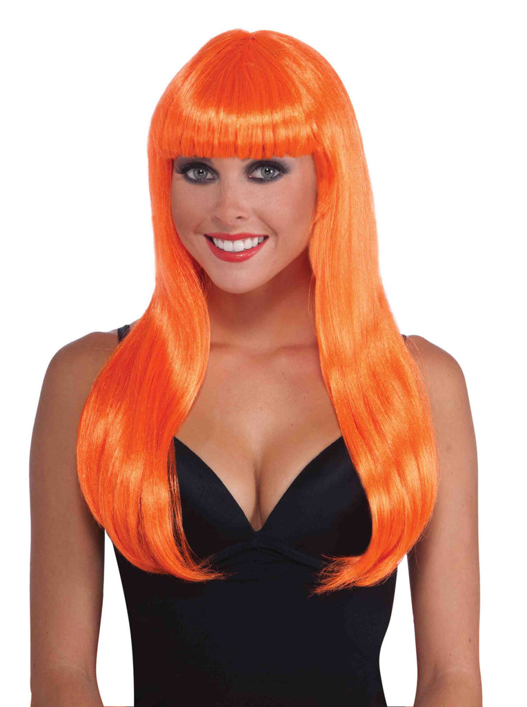 Orange Neon Halloween Wig Long Sexy - HalloweenCostumes4U.com - Accessories