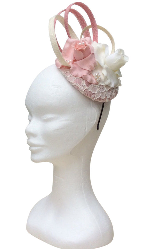 dusty pink and cream fascinator