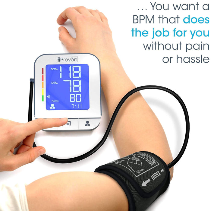 Blood Pressure Monitor with Cuff - Free App - Lightning fast & Highly Accurate - BPM-2244BT BPM iProvèn