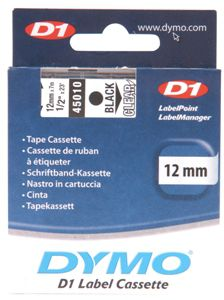 Dymo Black on Colour 12mmx7m Tape