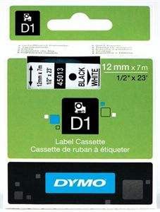 Dymo Black on White 12mmx7m Tape