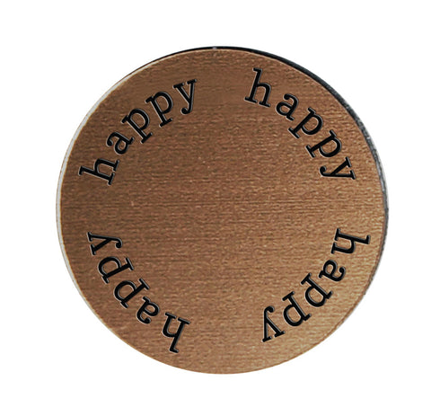 HAPPY Inspirational BRONZE Locket Plate ~Choose Your Size!