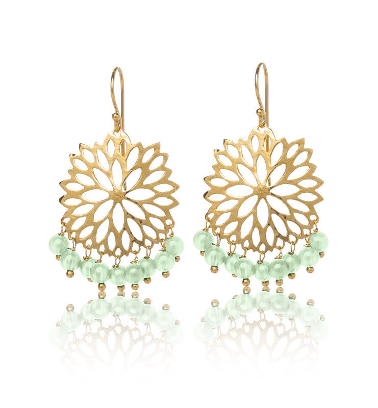 Anthia Earring, Green Aventurine, Gold