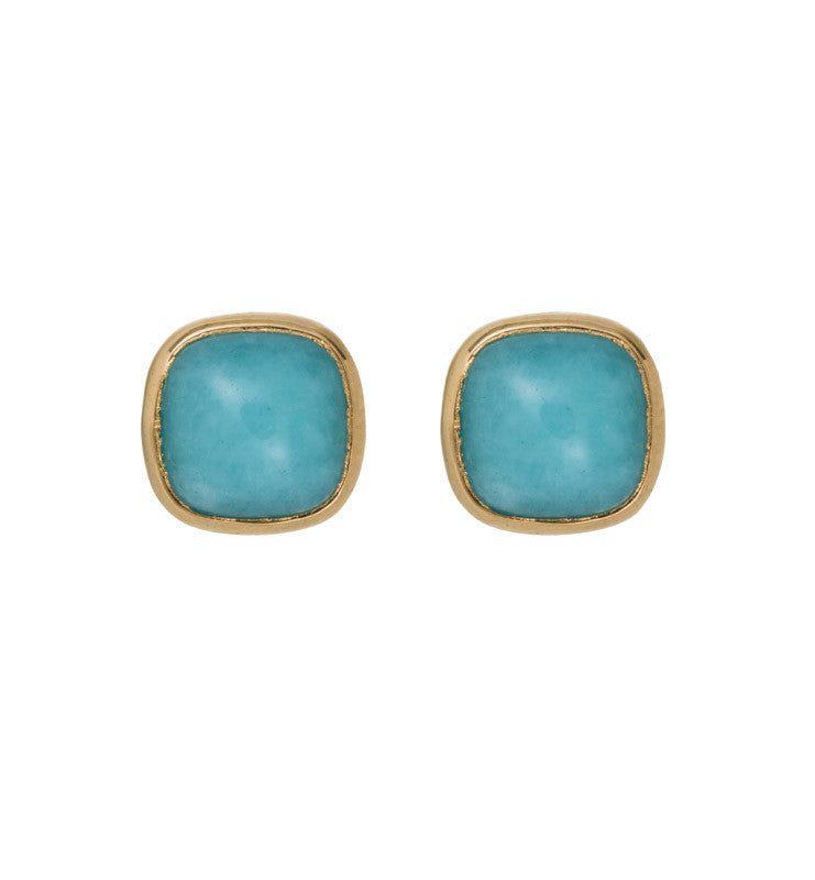 Ariel Stud, Amazonite, Gold