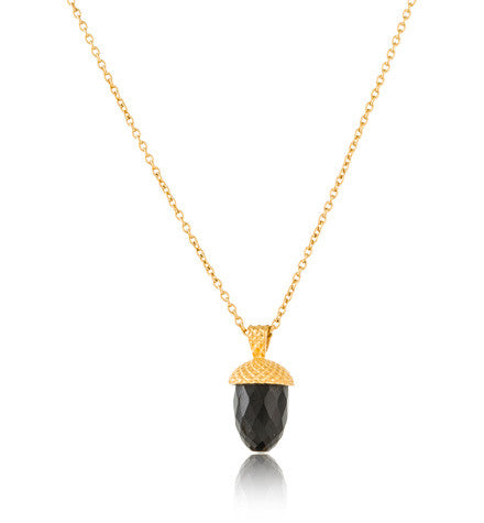 Acorn, Pendant, Black, Onyx, Gold, Kerry, Rocks, Jewellery