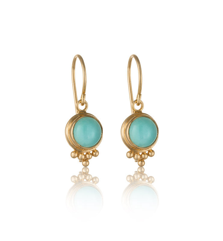 Anara Earring, Amazonite, Gold