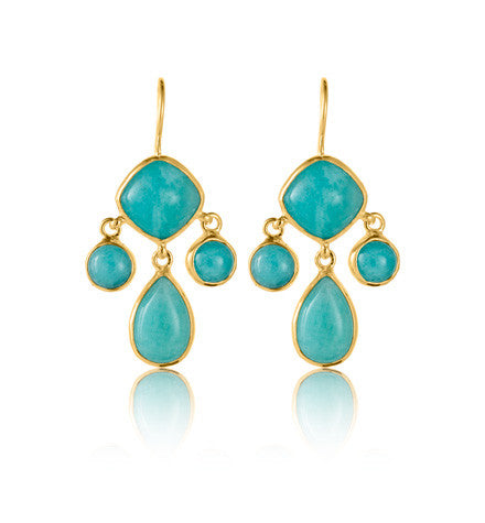 Ariel Chandelier Earring, Amazonite, Gold