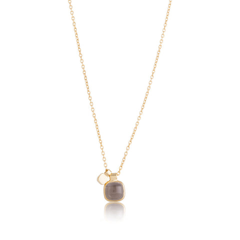 Ariel Charm Necklace, Smokey Quartz, Gold