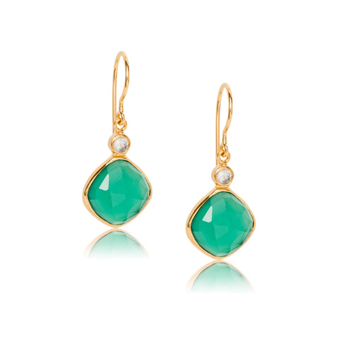 Ariella Earring, Green Onyx, Gold