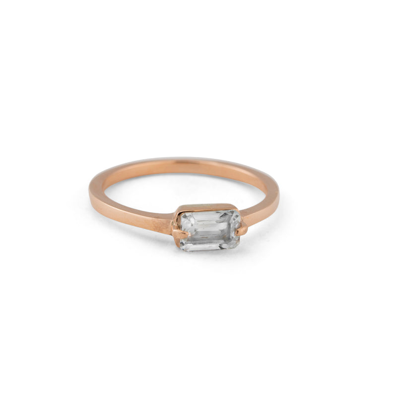 Baguette Band, White Topaz, 9kt Rose Gold