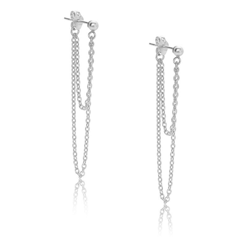 Chain Duo Stud,Silver