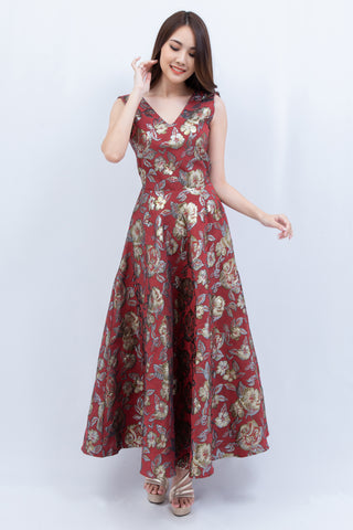 Penela Maxi Dress Red Gold