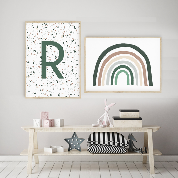 Terrazzo Initial // Emerald Brown Grey Rainbow
